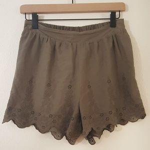 Lauren Conrad | Lace Eyelet Cotton Shorts Olive